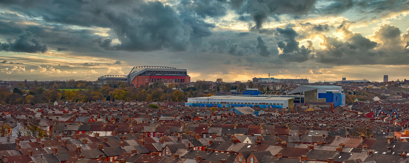 Liverpool View of Anfield, Goodison and the Autumn Colours of Stanley Park