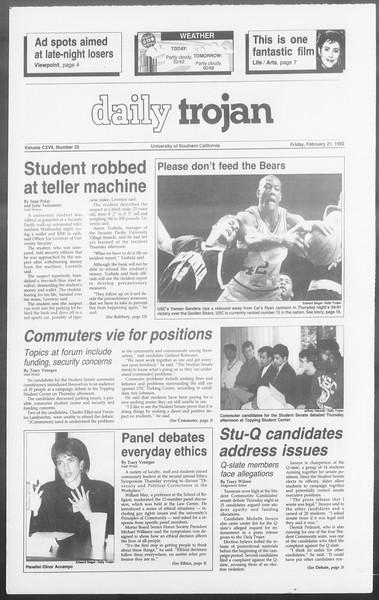 Daily Trojan, Vol. 117, No. 25, February 21, 1992