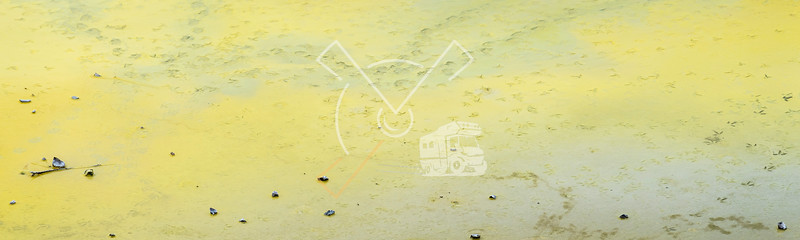 Birdstep prints neon yellow natural sulfur fields in the acid waters of at the Artist's palette and Champagne Pool