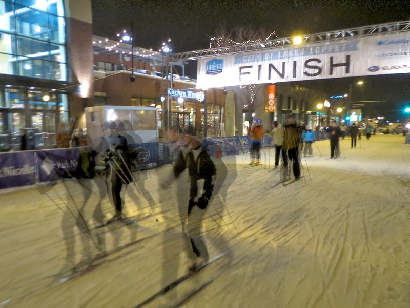The start/finish line for the Luminary Loppet on Hennepin Ave. in Minneapolis.