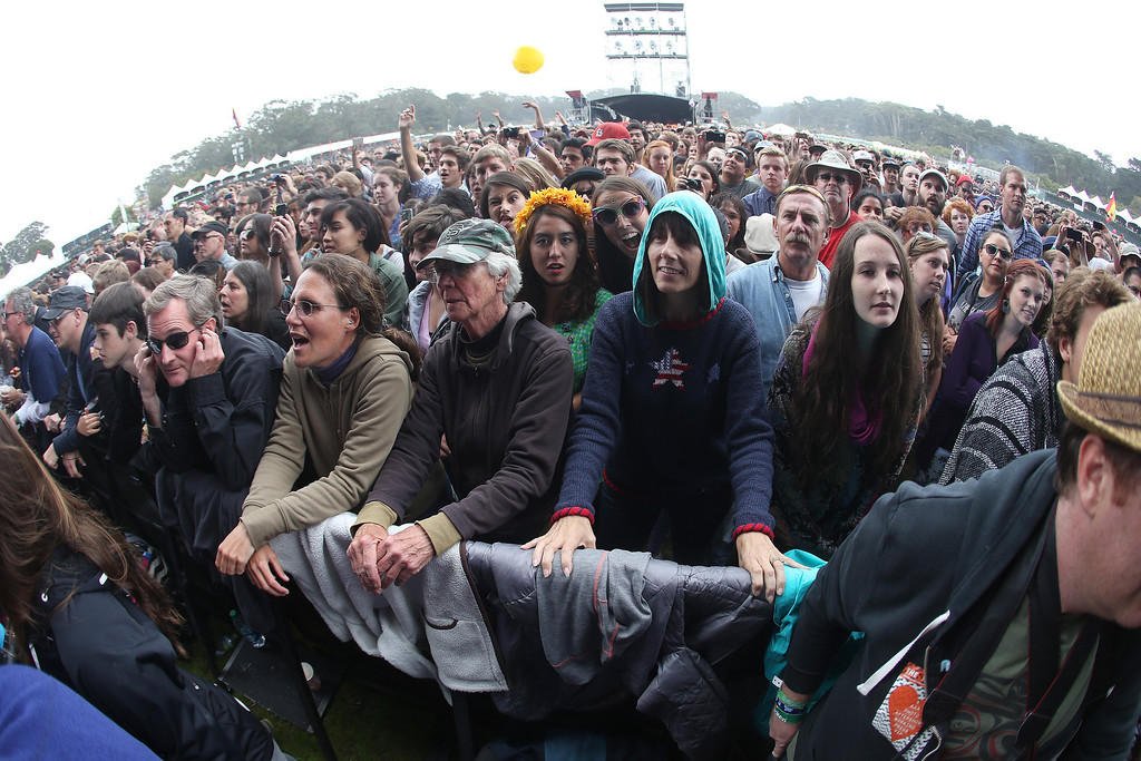 . A large crowd fills the Polo Field at the Land\'s End main stage during the 6th annual Outside Lands Music and Arts Festival in Golden Gate Park in San Francisco, Calif., on Friday, Aug. 9, 2013.  (Jane Tyska/Bay Area News Group)