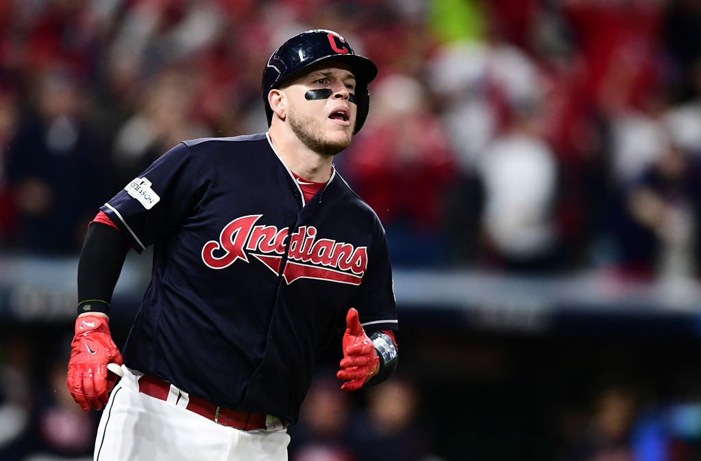 . Cleveland Indians\' Roberto Perez watches his ball after hitting an RBI-single off New York Yankees starting pitcher CC Sabathia in the fifth inning of Game 5 of baseball\'s American League Division Series, Wednesday, Oct. 11, 2017, in Cleveland. Austin Jackson scored on the play. (AP Photo/David Dermer)