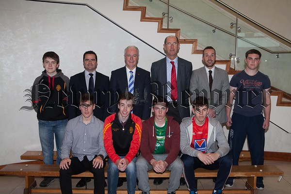 Mr Dermot McGovern (Headmaster) congratulates pupils who achieved at least 4 'A' grades in their A-Level examinations at the Abbey Christian Brothers' Grammar School, Newry. Included are Daniel Darragh, Aodhan Donnelly, Paul Markey, Matthew O'Donovan, Jonathan Reynolds and Brian Smyth. Also included are Mr Mark Rodgers  (Upper Sixth Year Tutor) & Mr Paul O'Shea and Mr Ronan Ruddy (Vice Principals). Missing from photograph are Niall Lennon and Ronan Lavery. R1634017