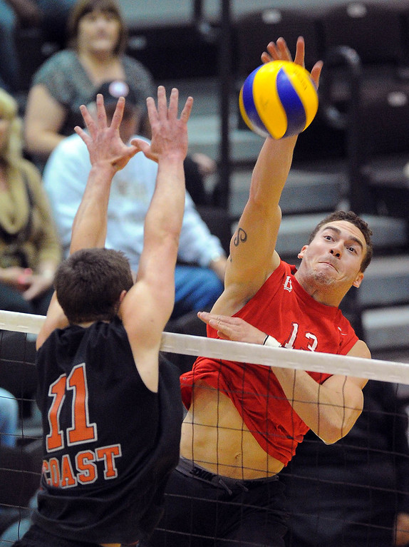 . LONG BEACH - 04/16/2013  (Photo: Scott Varley, Los Angeles Newspaper Group)  Long Beach City College defeated Orange Coast College to advance to the semifinal in the state mens volleyball playoffs. LBCC\'s Jon Schaefer hits around Cody Martin\'s block.