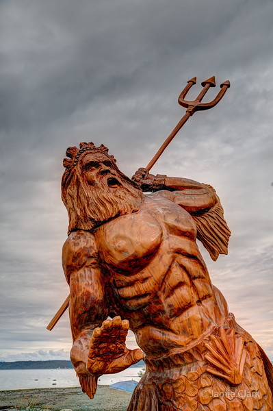 Poseidon. Chainsaw Sculpture Competition. Campbell River British Columbia