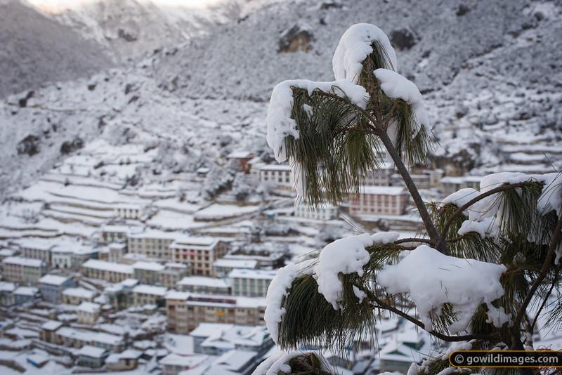 Spring snow in Namche