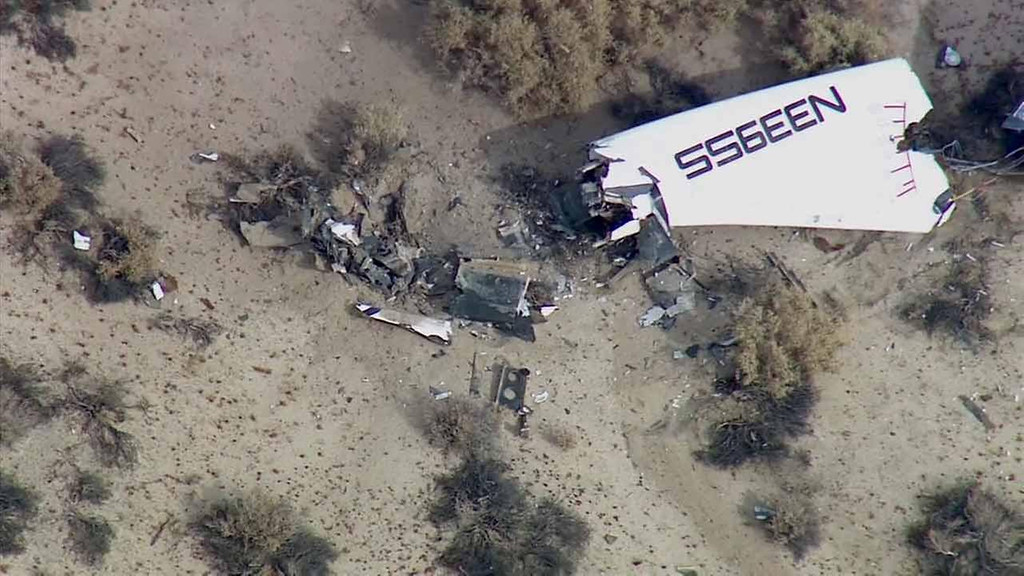 . This image from video by KABC TV Los Angeles shows wreckage of what is believed to be SpaceShipTwo in Southern California\'s Mojave Desert on Friday, Oct. 31, 2014. A Virgin Galactic space tourism rocket exploded after taking off on a test flight, a witness said Friday. (AP Photo/KABC TV)