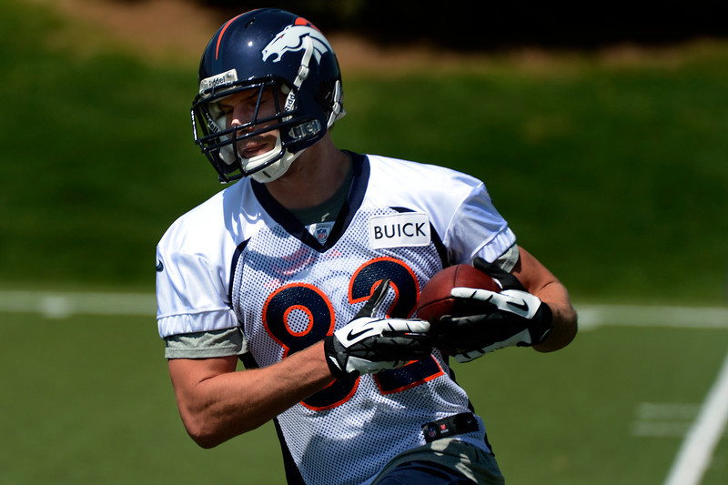 . Rookie tight end # 82 Lucas Reed gets his hands on the ball at Broncos rookie minicamp at the Broncos Dove Valley facility May 10, 2013 Centennial, Colorado. (Photo By Joe Amon/The Denver Post)
