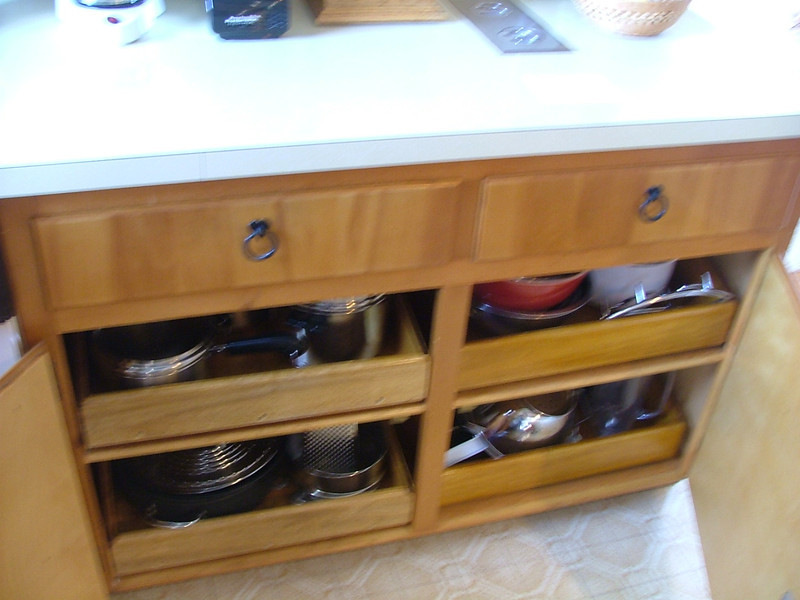 kitchen cabinet shelves slide out