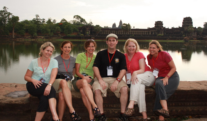 Guests enjoying sundown at Angkor Wat with Smiling Albino co-founder Scott