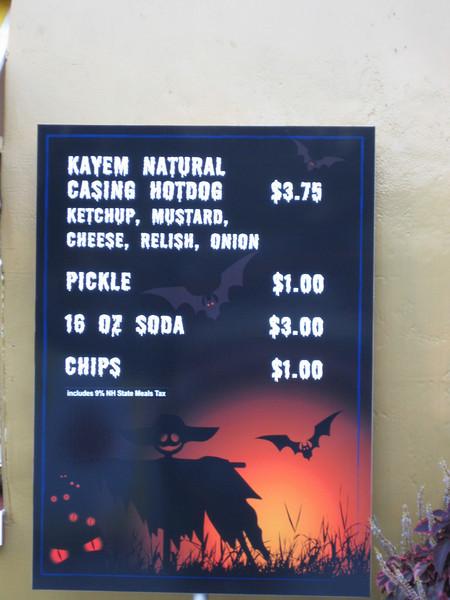 Kayem Hot Dog Diner menu.