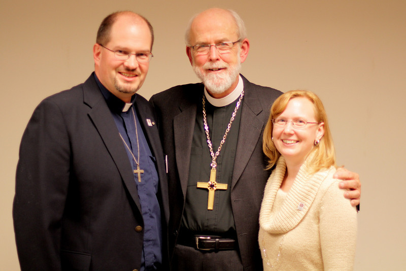 David and Jenni Pavesic with Bishop Hanson