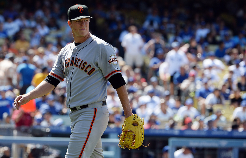. San Francisco Giants starting pitcher Matt Cain is taken out of the game in the sixth inning of a Major league baseball game against the Los Angeles Dodgers on Saturday, May 10, 2013 in Los Angeles.   (Keith Birmingham/Pasadena Star-News)