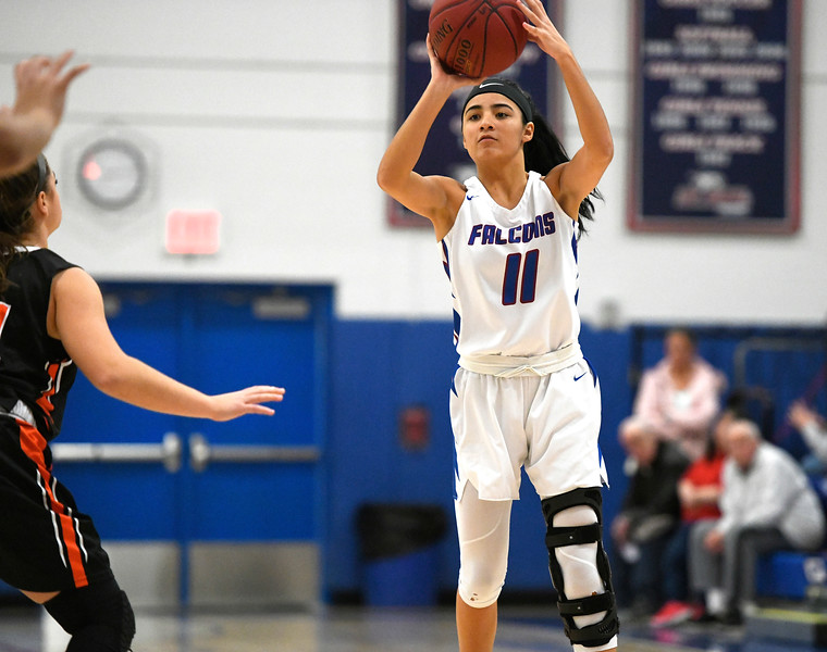 1/11/2019 Mike Orazzi | Staff St. Paul's Janessa Gonzalez (11) Friday night in Bristol against Watertown.