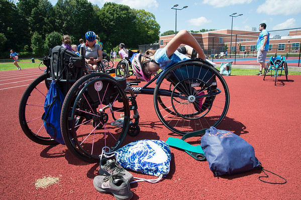 08/08/19 Wesley Bunnell | Staff Helen Newman prepares herself for the track and field event at the Hospital for Special Care's Ivan Lendl Adaptive Sports Camp at Berlin High School on Thursday August 9, 2019.