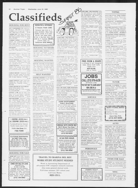 Summer Trojan, Vol. 101, No. 5, June 18, 1986