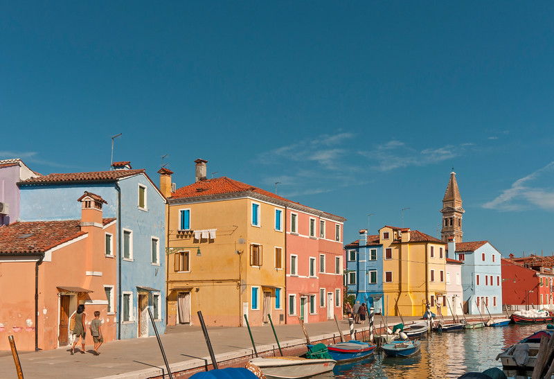 Burano Canal with Leaning Tower of Church of San Martino, Fondamenta della Pescheria, Venice, Veneto, Italy
