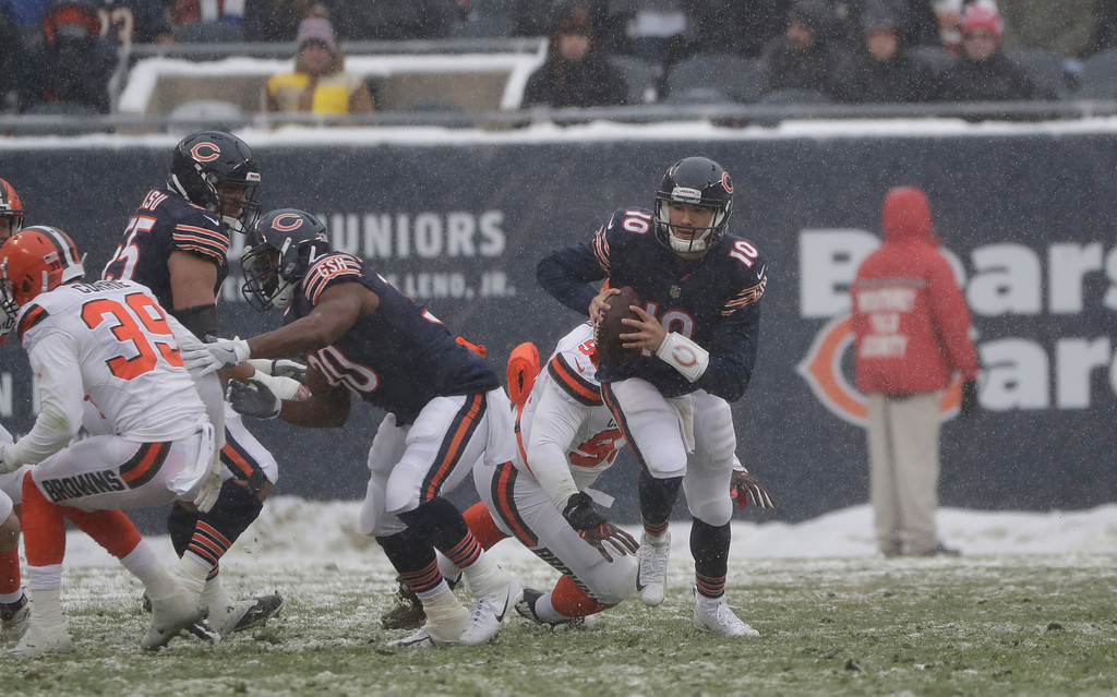 . Chicago Bears quarterback Mitchell Trubisky (10) runs against the Cleveland Browns during an NFL football game in Chicago, Sunday, Dec. 24, 2017. (AP Photo/Nam Y. Huh)