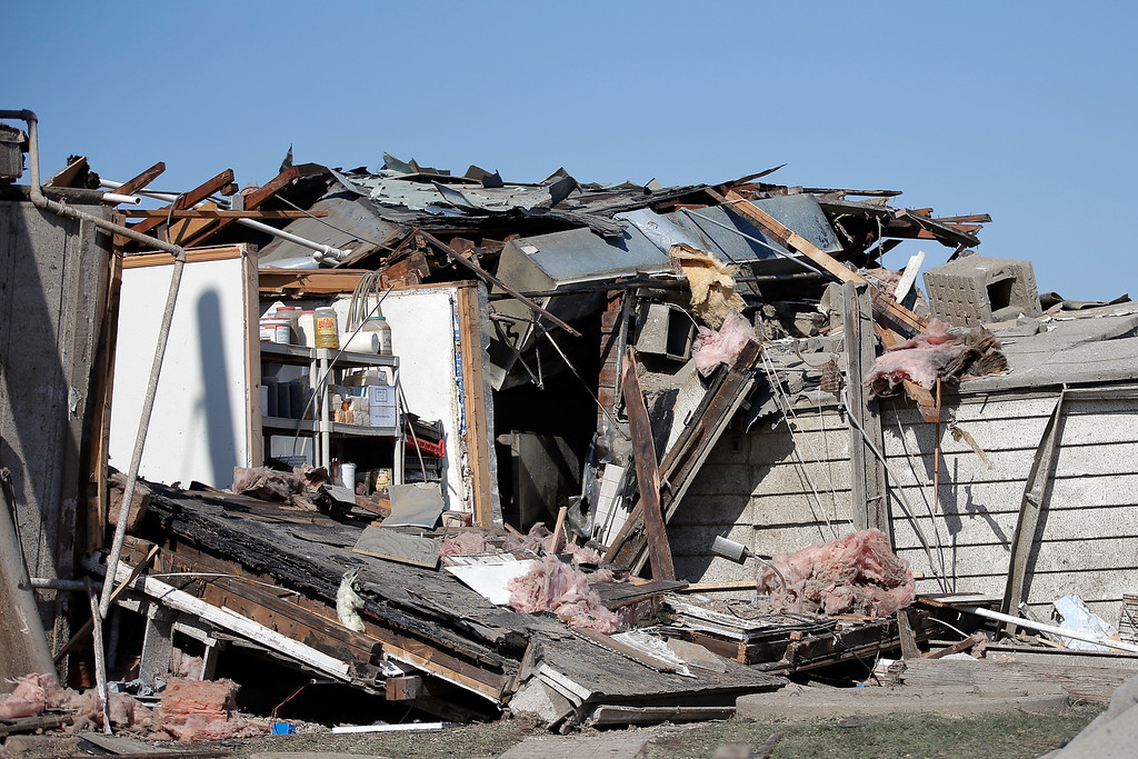 . The restaurant Grubstakers was damaged by a tornado the previous night, on April 10, 2015 in Rochelle, Illinois. According to reports, 11 people were injured and one person was killed when tornadoes and thunderstorms passed through the northwestern suburbs of Chicago. (Photo by Jon Durr/Getty Images)