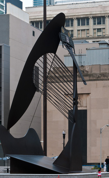 If you look closely, you'll see the sculpture is wearing Blackhawks hockey headgear.