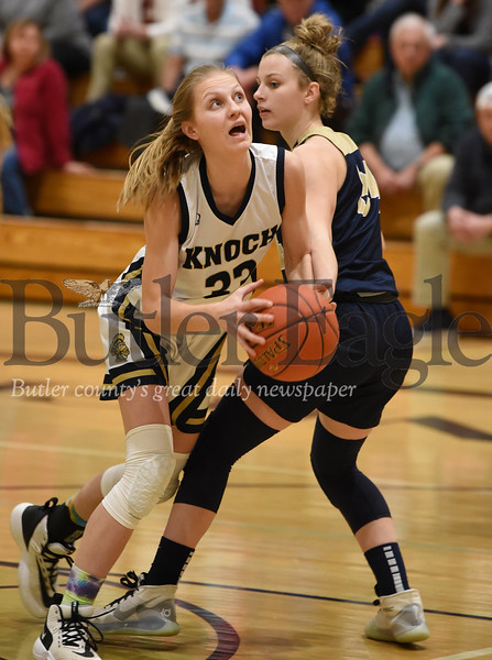 Harold Aughton/Butler Eagle: Knoch's #33 drives the ball to the hoop in the first period.
