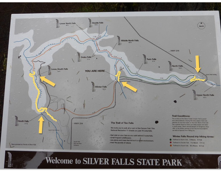 Map of all the falls.  The yellow is the part we hiked.