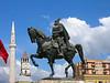 Albania Tirana Skenderbej Square 4 and Skenderbej Himself