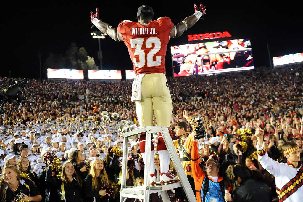 . Florida State\'s James Wilder Jr. stands atop the drum major ladder following the 2014 Vizio BCS National Championship January 6, 2014 in Pasadena CA.  Florida State won the game 34-31.(Andy Holzman/Los Angeles Daily News)