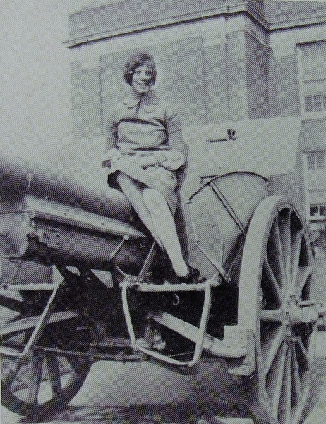 The cannon in front of the old Union High School was a popular spot to take photos in 1957 and throughout the years.