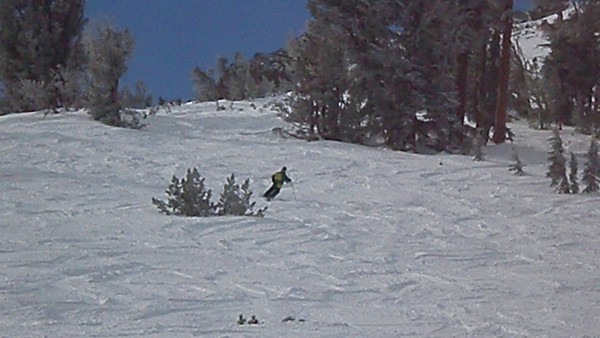 Video of Aaron skiing through the powder on Kirkwood's backside, off chair 4.  Video by Harrison Turner.