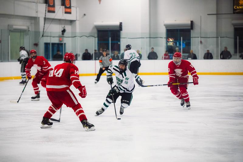 Holy Family Boys Varsity Hockey vs. Benilde-St. Margaret's, 12/26/19: Charlie Lindberg '21 (10)