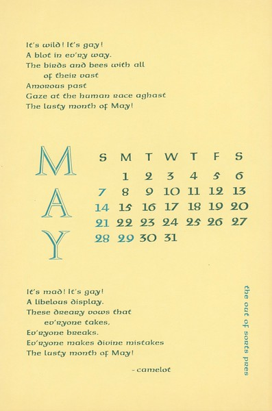 May, 1972, Out of Sorts Pres
