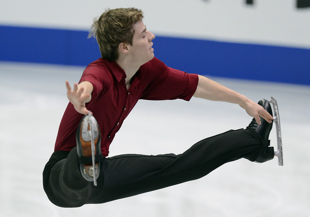 Description of . Richard Dornbush of USA skates in the Mens Short Program during day one of the ISU Four Continents Figure Skating Championships at Osaka Municipal Central Gymnasium on February 8, 2013 in Osaka, Japan.  (Photo by Atsushi Tomura/Getty Images)