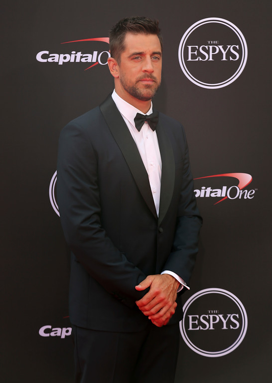 . Green Bay Packers quarterback Aaron Rodgers arrives at the ESPY Awards at Microsoft Theater on Wednesday, July 18, 2018, in Los Angeles. (Photo by Willy Sanjuan/Invision/AP)