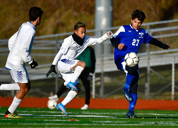 11/13/2019 Mike Orazzi | StaffrBristol Eastern's Justin Sanchez (27) during the Class L Second Round boys soccer tournament with Bunnell High School in Bristol on Wednesday.