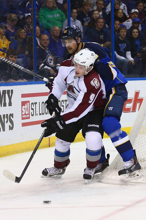 . ST. LOUIS, MO - NOVEMBER 14:  Matt Duchene #9 of the Colorado Avalanche and Patrik Berglund #21 of the St. Louis Blues battle for a loose puck at the Scottrade Center on November 14, 2013 in St. Louis, Missouri.  (Photo by Dilip Vishwanat/Getty Images)