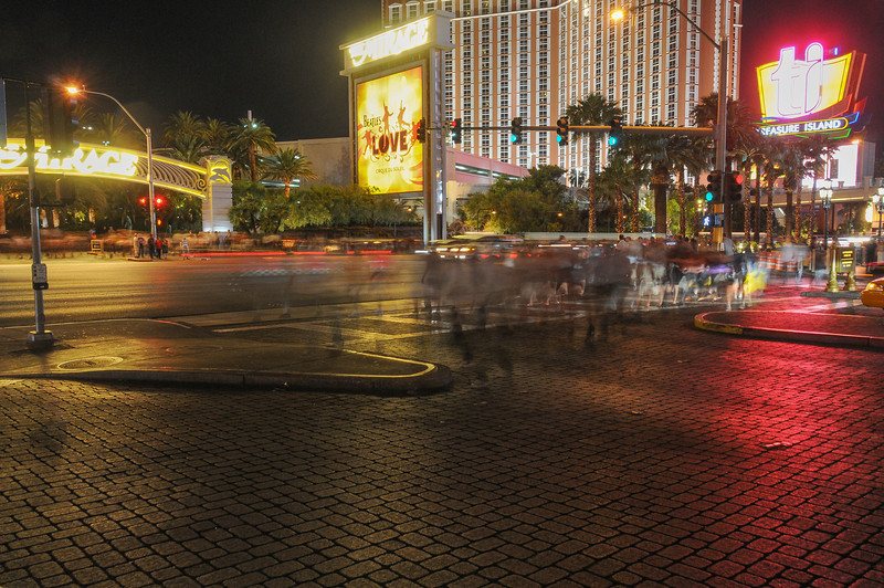 Street scene outside The Mirage Hotel at night - Las Vegas, Nevada