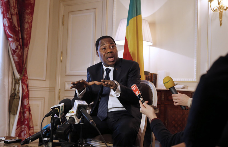 ". Benin\'s President Thomas Boni Yayi talks during an interview on February 7, 2013 in Paris, as part of a State visit to France. Boni Yayi called for France\'s continued ""leadership\"" in Mali the day before, as France mulled the withdrawal of its troops today after asking the UN to prepare a peacekeeping force to take the baton, nearly a month after launching an offensive in Mali to drive out Islamist extremists. FRANCOIS GUILLOT/AFP/Getty Images"