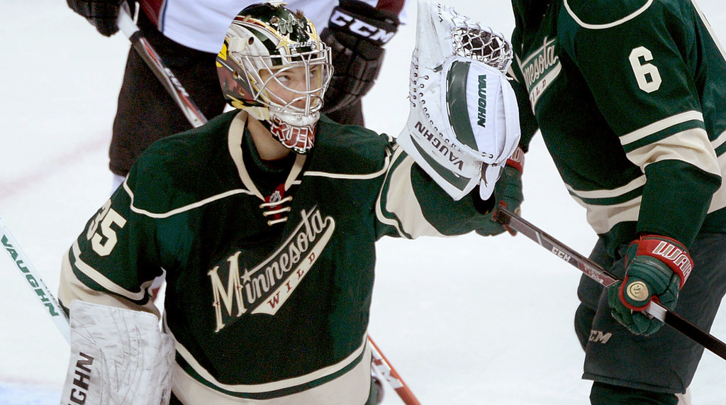 . Minnesota Wild goaltender Darcy Kuemper makes a save during the first period of Game 3 of the Stanley Cup Playoffs at Xcel Energy Center  in St. Paul on Monday, April 21, 2014. (Pioneer Press: Sherri LaRose-Chiglo)