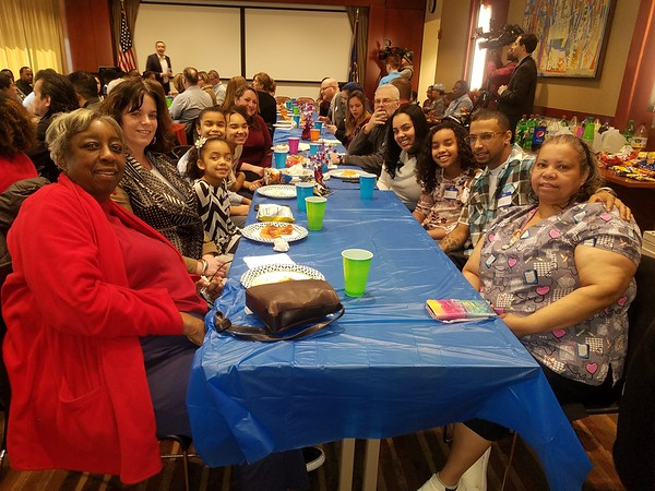Aliya Parker Viera's family at the pizza party