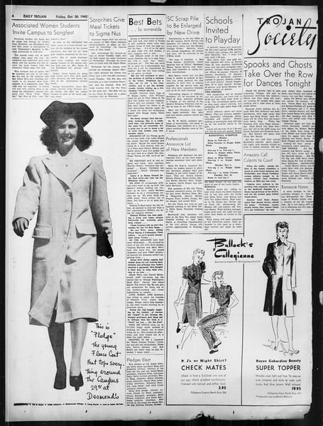 Daily Trojan, Vol. 34, No. 30, October 30, 1942