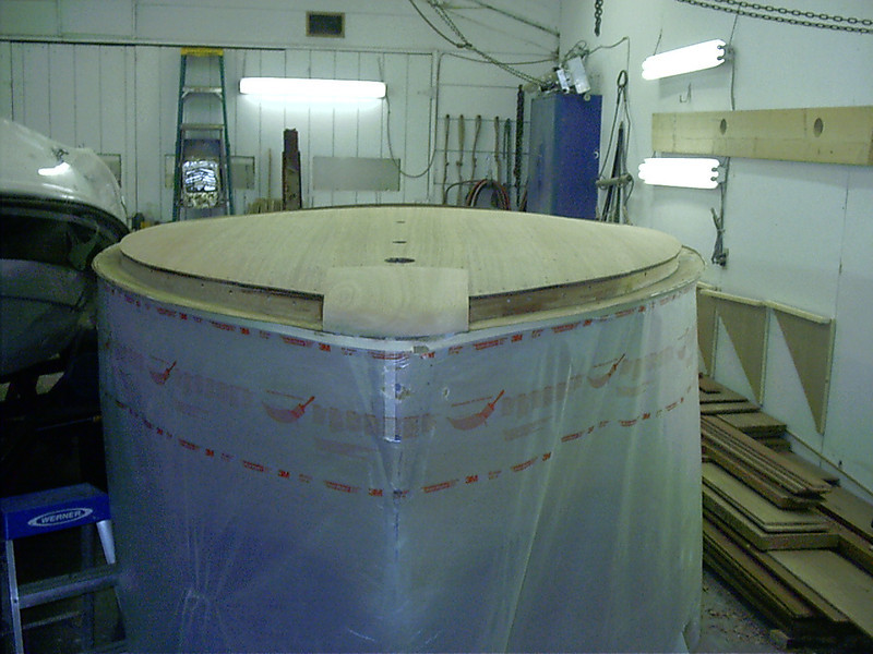 Bow block faired to shape