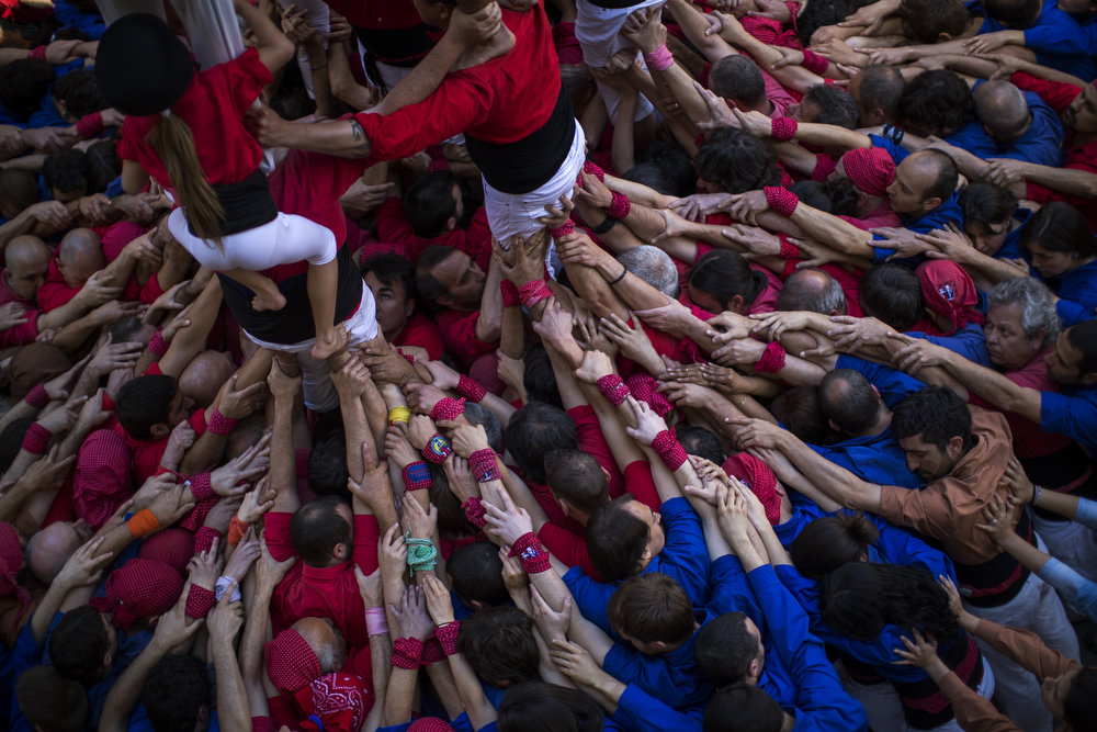 ". Members of the Castellers ""Vila de Gracia\"" form their famous human tower called \""castell\"" in the Barcelona neighborhood of Gracia, Catalonia, Spain on Sunday May 19 2013. A \""castell\"" is a human tower traditionally built during festivals in many places in Catalonia. At these festivals, several \""colles\"" or teams compete to build the most impressive towers they can. (AP Photo/Emilio Morenatti)"