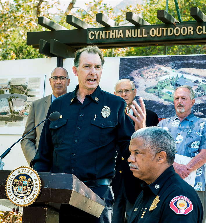 . LA Fire Chief John Todd speaking at wildfire prevention news conference at Eaton Canyon Nature Center in Pasadena Friday, June 20, 2014. Assemblymember Chris Holden (D-Pasadena) LA County Supervisor Michael Antonovich, Pasadena Fire Calvin Wells, and JPL/NASA Climatologist Bill Patzert present at news conference. This summer season starts Saturday and may be even more fiery than usual, climatologists say. After years of drought, a warmer-than-average fall, winter and spring with 40 percent less rain this year, the Southland could be in for an especially scorching fire season. (Photo by Walt Mancini/Pasadena Star-News)