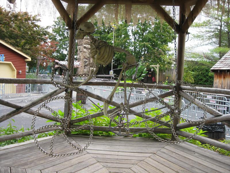 Skeleton bicycle sculpture.