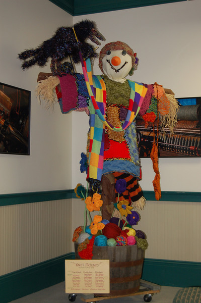 Textile Museum - a scarecrow made from a group of knitters.