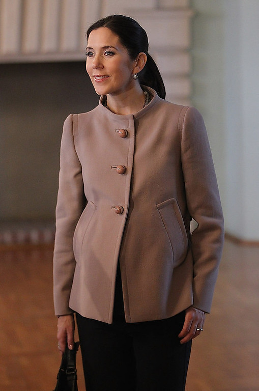 . Danish Crown Princess Mary, who is pregnant with twins, tours Schloss Guestrow palace with her husband Danish Crown Prince Frederik on September 28, 2010 in Guestrow, Germany. Prince Frederik and Princess Mary are on a two-day visit to northern Germany.  (Photo by Sean Gallup/Getty Images)