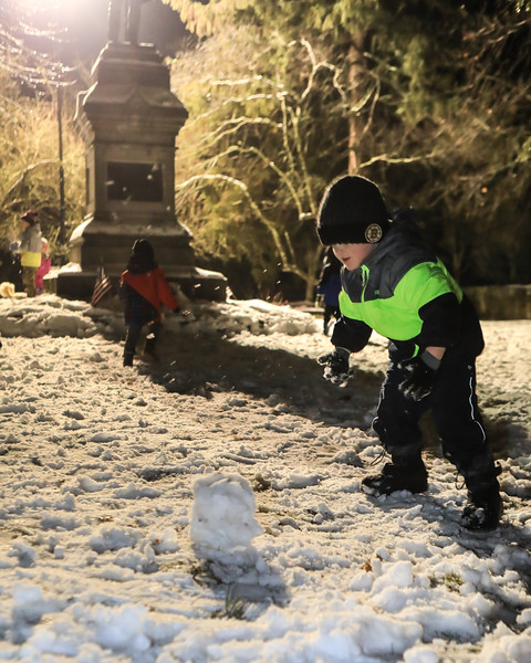 aven Tirgear decided a regular size snowball was not effective enough for the snowball fight, so he prepares a bigger one! Wicked Local Photo/Denise Maccaferri