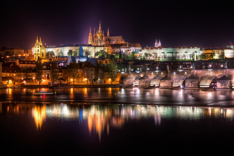 Wider view  I have uploaded a portrait oriented photo of a part of this scene. But I also wanted to show you a more wider view of the scene, so here it is :). Photo taken late at night in center of Prague.  HDR from three shots, taken with Canon 450D with Sigma 18-200mm lens, from a tripod.