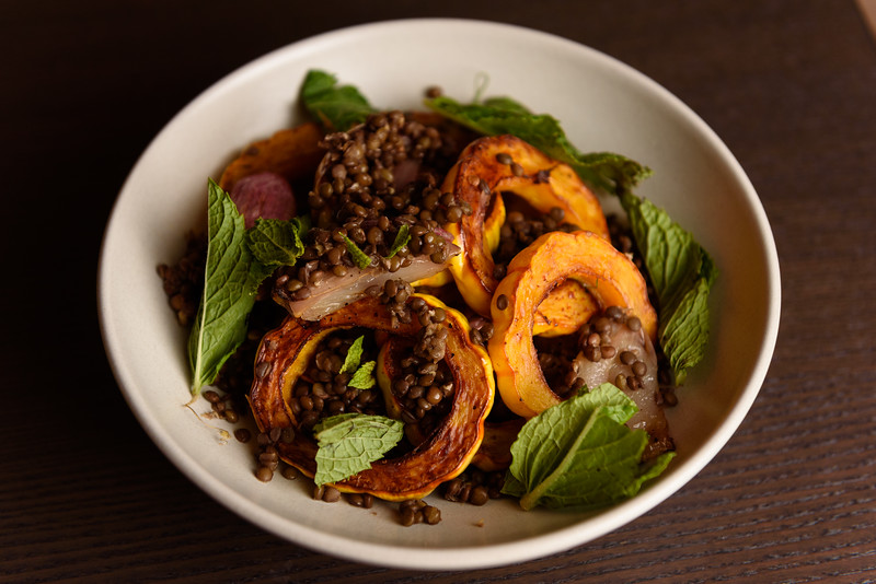 roast delicata with lentil, mint, and shallot